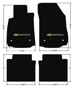 New Black Floor Mats 2014 2018 Chevy Impala Embroidered Bowtie Double Logo Set 4