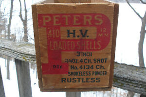 PETERS .410 WOOD WOODEN AMMO BOX CRATE 3