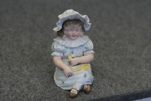 Antique Bisque 6 Girl Seated W Spoon Shelf Figurine Piano Baby Style