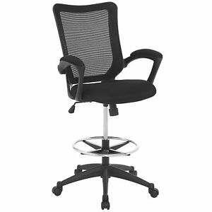 Modway Project Drafting Chair In Black Reception Desk Chair Tall Office