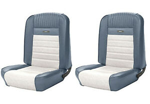 1964 1966 Mustang Coupe Front Rear Deluxe Pony Upholstery Blue White Tmi