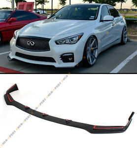 Front Bumper Chin Lip Spoiler Splitters For 2014 2017 Infiniti Q50 S Sport Model