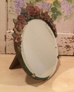 Antique English Round Beveled Barbola Mirror Border Flowers Easel Stand