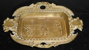 Antique French Cast Bronze Handled Dish Ashtray Exquisite