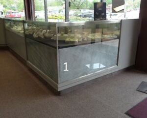 Jewelry Showcase Corner Case Glass Used Store Fixtures Lighted And Locks