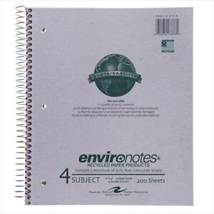 Roaring Spring Environotes 4 subject Notebooks 13376