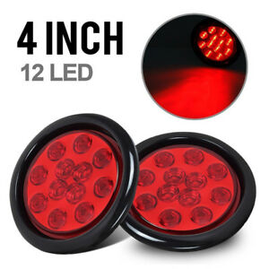 Qty 2 4 Inch Round 12 Led Truck Trailer Tail Light Red Stop Turn With Grommet