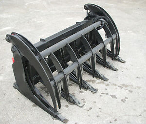 Bobcat Skid Steer 66 Root Rake Grapple Bucket Attachment With Teeth Free Ship