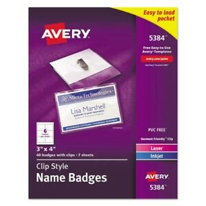 Avery Top Loading Clip Style Name Badge Kit 5384