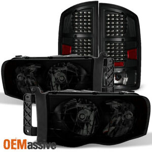 Fit 02 05 Dodge Ram 1500 2500 3500 Black Smoked Headlights Black Led Tail Lights