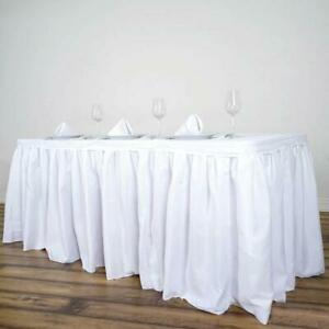 White 17 Feet Polyester Pleated Table Skirt Tradeshow Wedding Catering Supplies