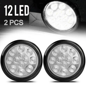 White 12 Led 4 Round Truck Trailer Brake Stop Turn Tail Lights W Clear Lens