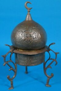 Antique Islamic Domed Brass Tripod Incense Burner 10 1 2 High