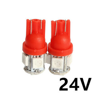 10pcs Red Dc 24v T10 Led 5smd W5w Wedge Car Suv Interior Light Bulb 168 192 2825