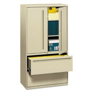 Hon 2 Drawer Lateral File With 3 Shelf Storage Space Lock 785lsl
