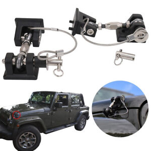 1 Pair Black Locking Hood Latch Catch Key Pin Kit For Jeep Wrangler Jk 2007 2017