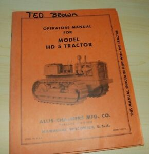 Allis chalmers Hd5 Tractor Dozer Crawler Owner Operator Operation Manual Book Hd