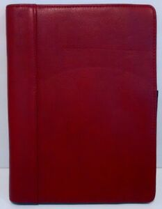 Franklin Covey Full Grain Red Leather Thin Folder Planner Black Interior 7x9 5