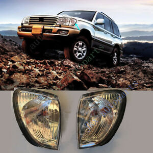 Pair Bumper Parking Signal Lights Lamp For Toyota Land Cruiser Prado Lc100 98 05