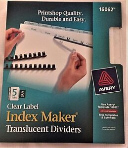 Lot Of 10 Sets 5 Sets box Avery 16062 Clear 5 Tab Index Maker Dividers 2 Bxs