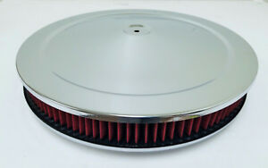14 X 2 Chrome Round Air Cleaner Flat Base Washable Filter Chevy Ford