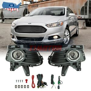 Winjet For 13 16 Ford Fusion Pair Oe Fog Light wiring switch Kit Dot Clear Lens