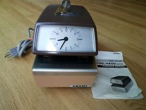Amano 4746 Time Clock Date Stamp W Key Analog Design Quality Vintage Unit Works