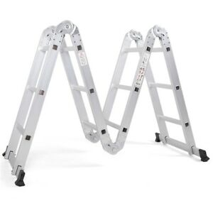 12 5ft En131 Telescoping Step Aluminum Folding Scaffold Ladder With Safety Locks