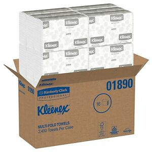 Kleenex Multifold Paper Towels 01890 white 16 Packs 2400 Paper Towels No Tax