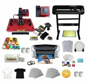 6in1 Heat Press Transfer Machine Vinyl Cutting Plotter Printer Paper T shirts