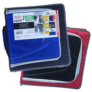 Two Zipper Binders 530 Sheet Capacity 2 Inch Five Star Blue black Red black