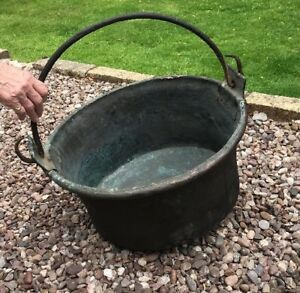 Antique Copper Large Cauldron Cooking Pot Apple Butter Kettle Log Basket Planter