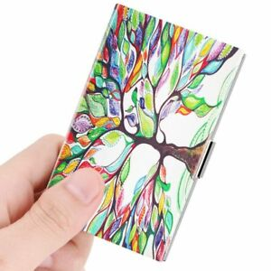 Business Card Holder Genuine Leather Coated Slim Card Case Organizer Love Tree