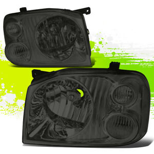 Driver passenger Smoked Housing Clear Side Headlights For 01 04 Nissan Frontier