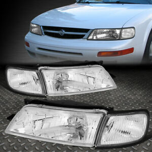 For 97 99 Nissan Maxima Chrome Housing Clear Corner Headlight Replacement Lamps