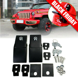 Stainless Steel Hood Latches Hood Lock Catch Latches Kit For Jeep Wrangler Jk