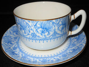 1889 Royal Worcester A C William Morris Style Full Size Cup Saucer Gold Rims