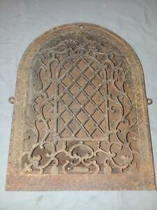 Antique Cast Iron Arch Top Dome Heat Grate Wall Register Vtg 94 18f