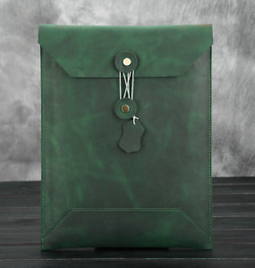 Cow Leather File Folder Pocket Messenger Case Bag Briefcase Customize Green Z622