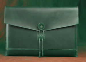 Cow Leather File Folder Pocket Case Messenger Bag Briefcase Handmade Green Z623