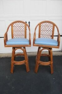 Vintage Rattan Tiki Swivel Bar Stools Pair Mid Century Palm Beach