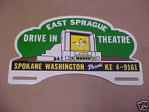 Spokane Drive In Theatre License Plate Topper 1940s 1990s East Sprague