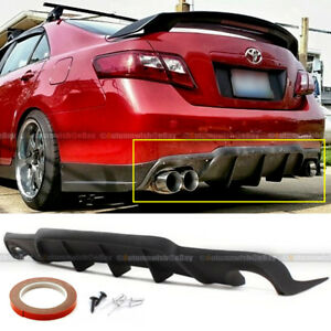 Fit 07 11 Toyota Camry 4dr Vip Style Rear Lower Bumper Lip Diffuser Fin Add On