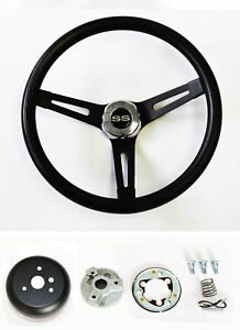 Chevelle Camaro Nova Impala Black On Black Steering Wheel 13 1 2 Ss Center Cap