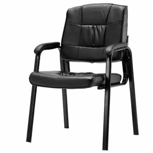 Set Of 2 Black Conference Reception Office Waiting Room Meeting Padded Arm Chair