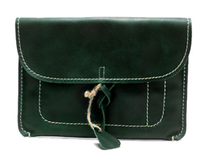 File Folder Pocket Cow Leather Messenger Pouch Bag Briefcase Handmade Green Z800