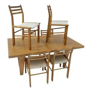 Mid Century Modern Guillerme Et Chambron French Dining Set Table And Six Chairs