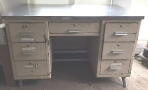 Vintage Antique Stainless Top Desk Metal Medical Industrial