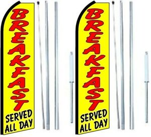 Breakfast Served All Day Swooper Flag With Complete Hybrid Pole Set Pack Of 2