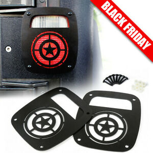 Black Star Tail Light Guard Cover For 1987 2006 Jeep Wrangler Tj Accessories